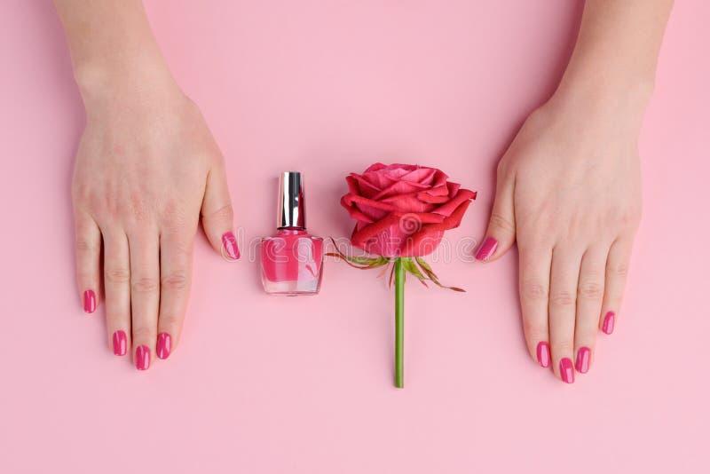 Mooie stevige donkere roze spijkers royalty-vrije stock afbeelding