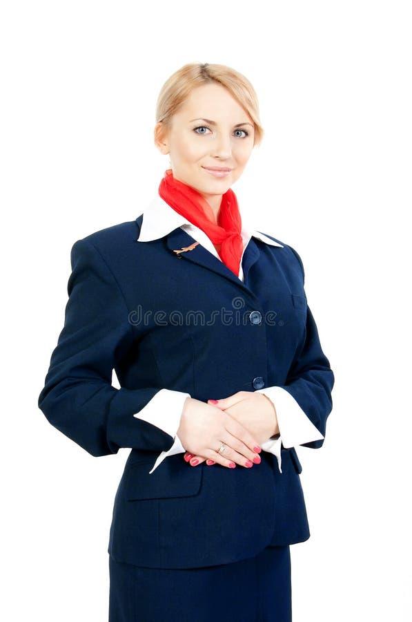 Mooie stewardess royalty-vrije stock afbeelding