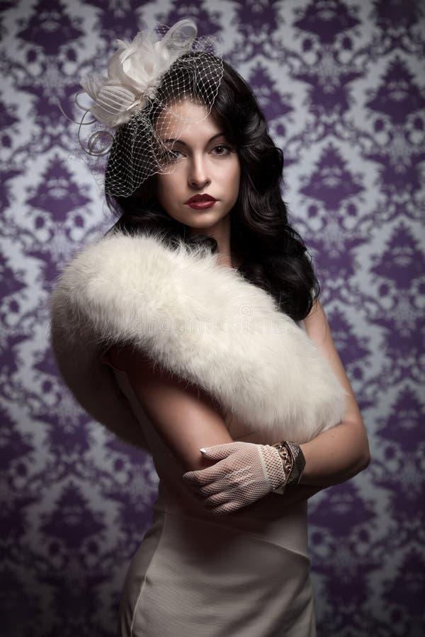 Mooie Stijl Woman.Retro stock afbeelding
