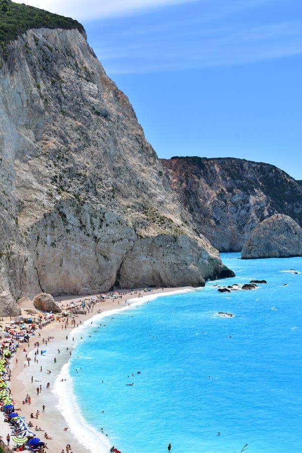 Mooie strand en overzees in Lefkada in Griekenland royalty-vrije stock afbeeldingen