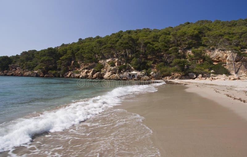 Mooie strand, zand en golven Menorca: stock fotografie