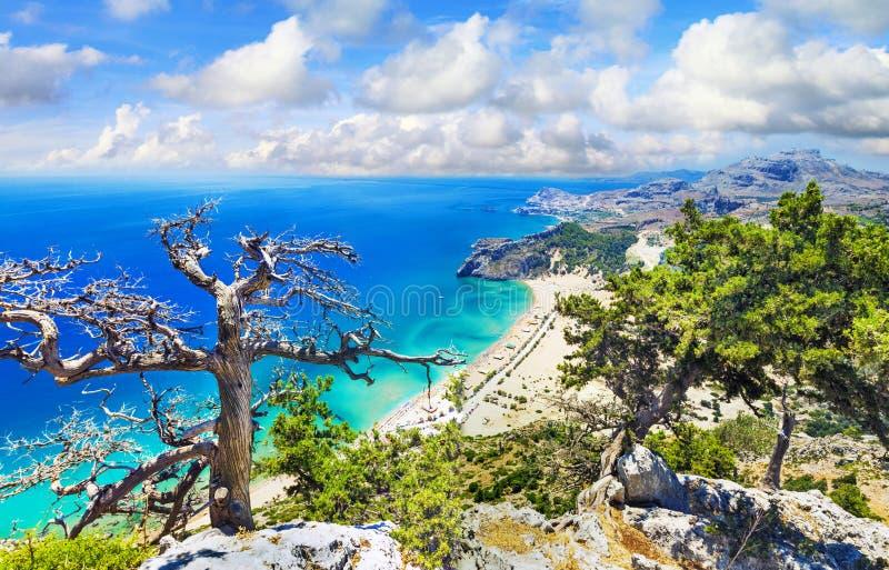 Mooie stranden het eiland van van Griekenland, Rhodos stock foto