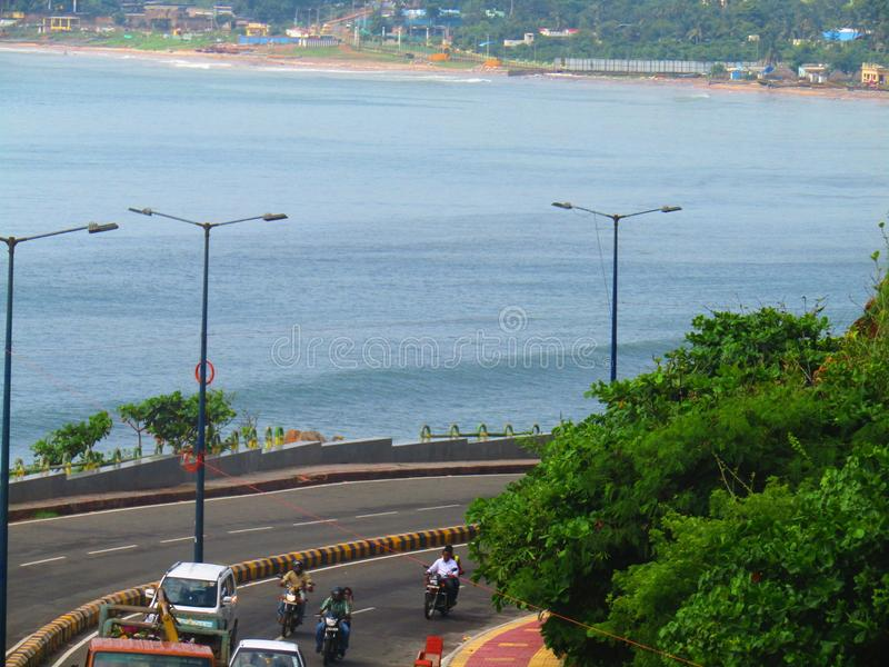Mooie Strandweg Vishakapatnam royalty-vrije stock afbeeldingen