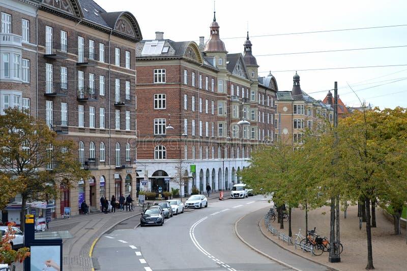 Mooie Straten van de Oude Stad Kopenhagen, Denemarken stock foto