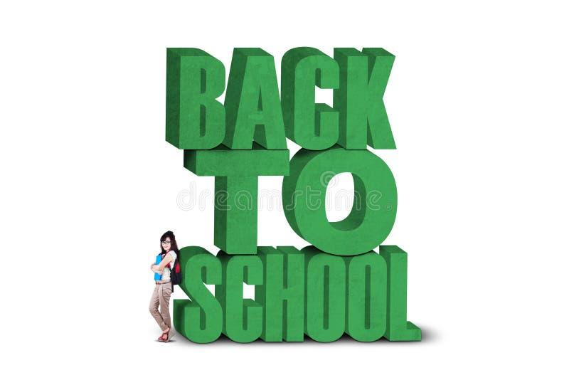 Mooie student terug naar school vector illustratie