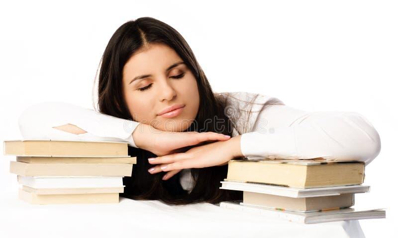Mooie studentenslaap op de lijst royalty-vrije stock afbeelding