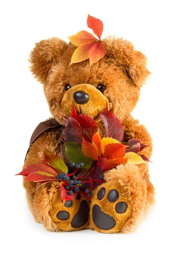 Mooie stuk speelgoed teddybeer met boeket van de herfstbladeren royalty-vrije stock foto