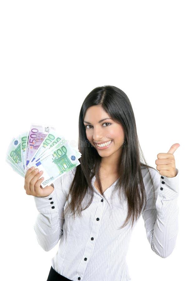 Mooie succesonderneemster die Euro nota's houdt stock fotografie
