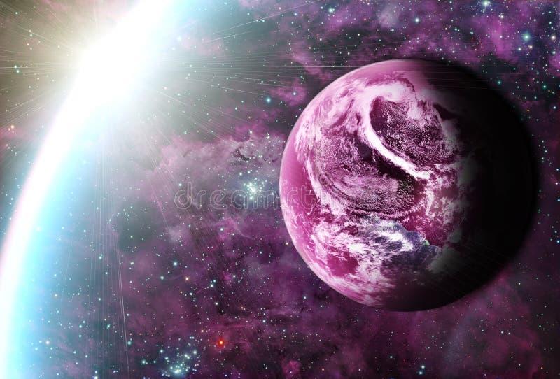 Mooie sunriece bij de rode planeet in ruimte stock afbeelding