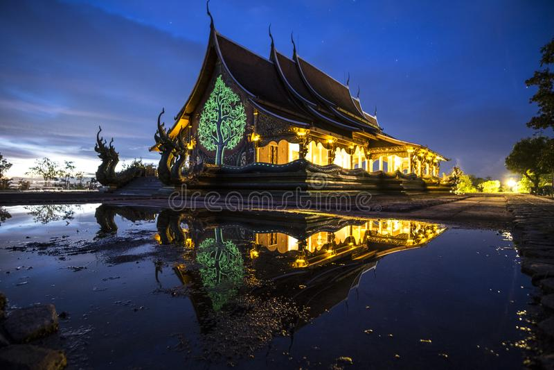 Mooie tempel van Ubonratchathani, Thailand stock afbeelding