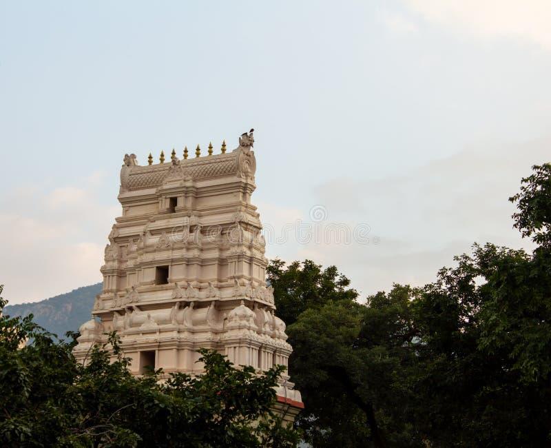 Mooie tempeltoren langs de bergketen Salem, Tamil Nadu, India stock foto's
