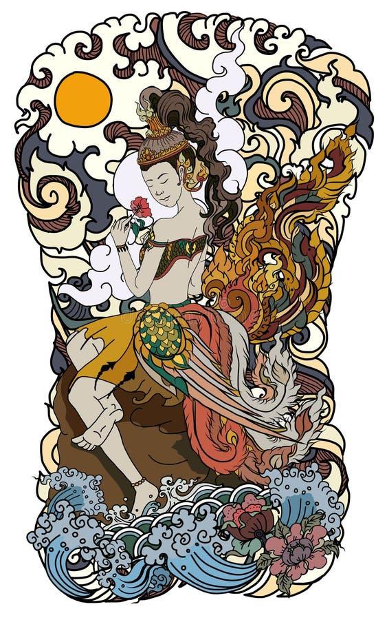 Mooie Thaise dame met vleugel en watergolf op wolk en maanachtergrond Thaise feestaart met bloem sitdown op rots stock illustratie