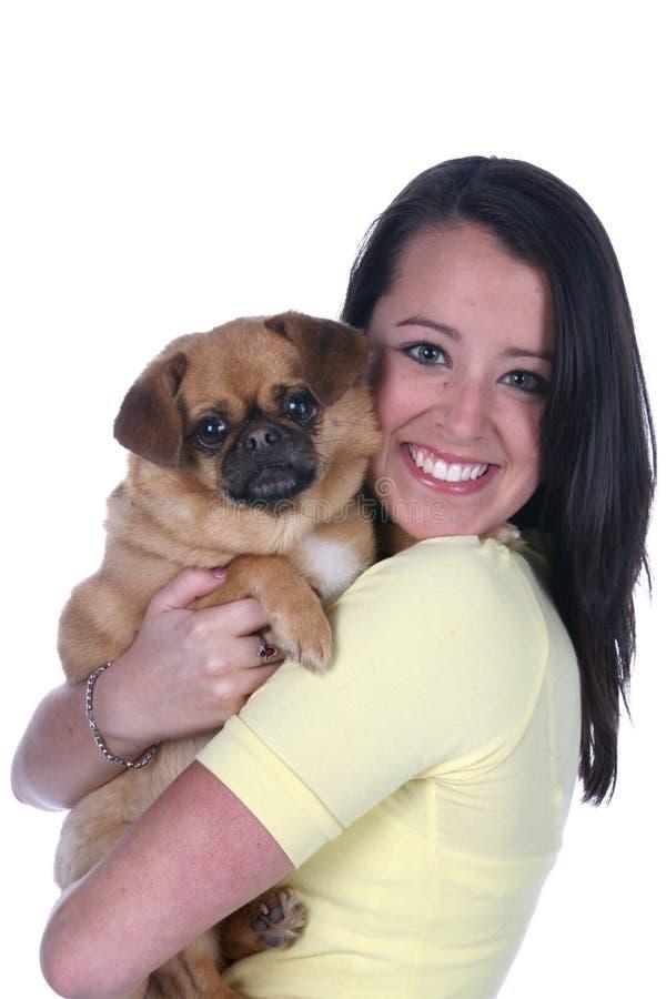 Mooie tiener en haar hond royalty-vrije stock fotografie
