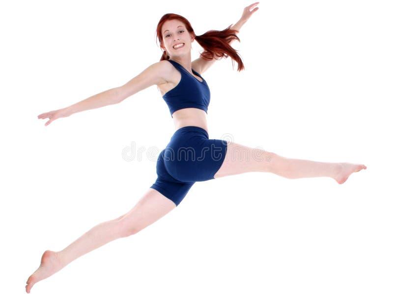 Mooie Tiener in het Springen van de Kleren van de Training royalty-vrije stock foto