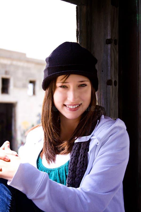 Mooie Tiener met een Hoed royalty-vrije stock afbeelding