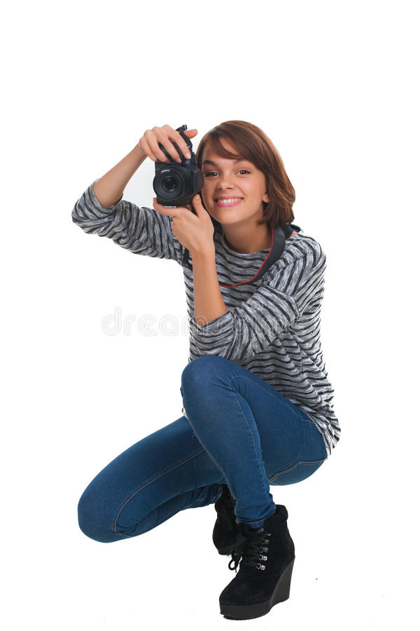 Mooie tiener met fotocamera stock foto