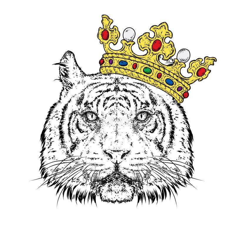 Mooie tijger in de kroon Vectorillustratie voor een prentbriefkaar of een affiche, druk voor kleren Roofdier stock illustratie