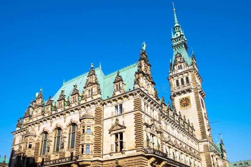 Mooie townhall in Hamburg stock foto