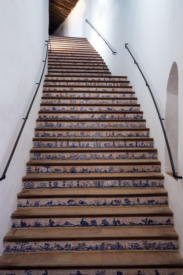 Mooie trap aan de tweede rij van de beroemde arena in de Spaanse stad van Ronda Plaza DE Toros is een beroemd Spaans stock afbeelding