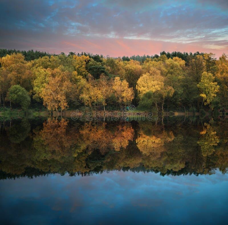 Mooie trillende de Herfst bosreflecions in kalme meerwateren royalty-vrije stock afbeeldingen