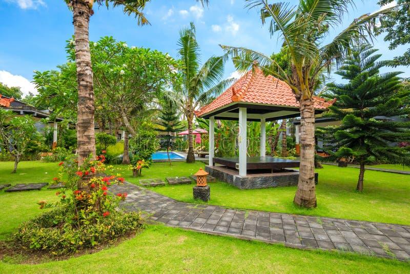 Mooie tropische tuin met zwembad, palmen en bloemen stock foto