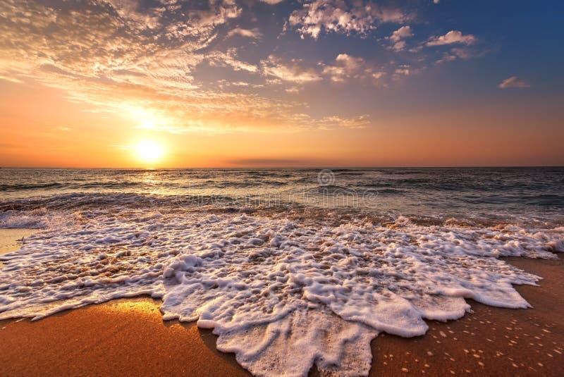Mooie tropische zonsopgang op het strand royalty-vrije stock foto's