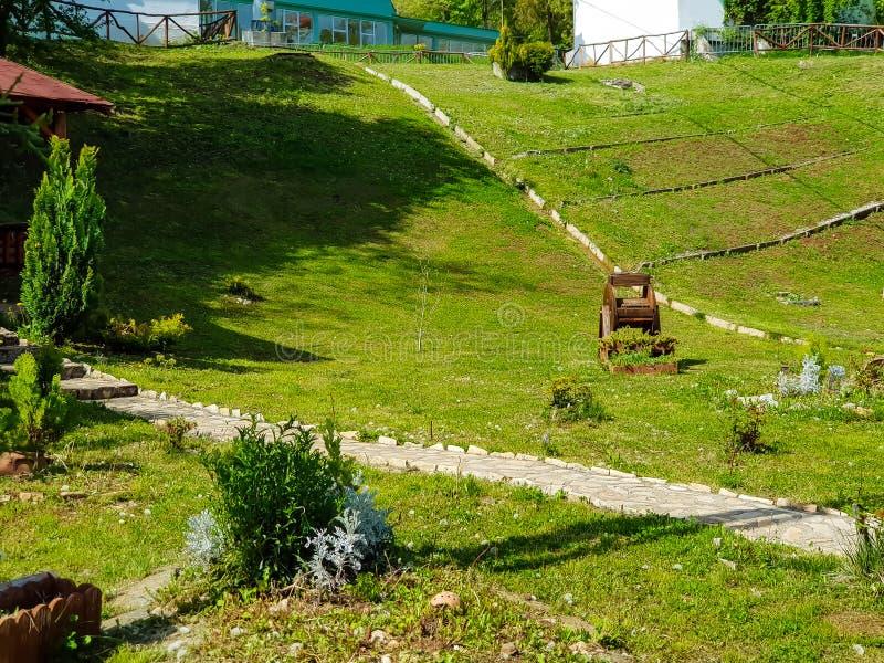 Mooie tuin met decoratieve punten en bomen royalty-vrije stock fotografie