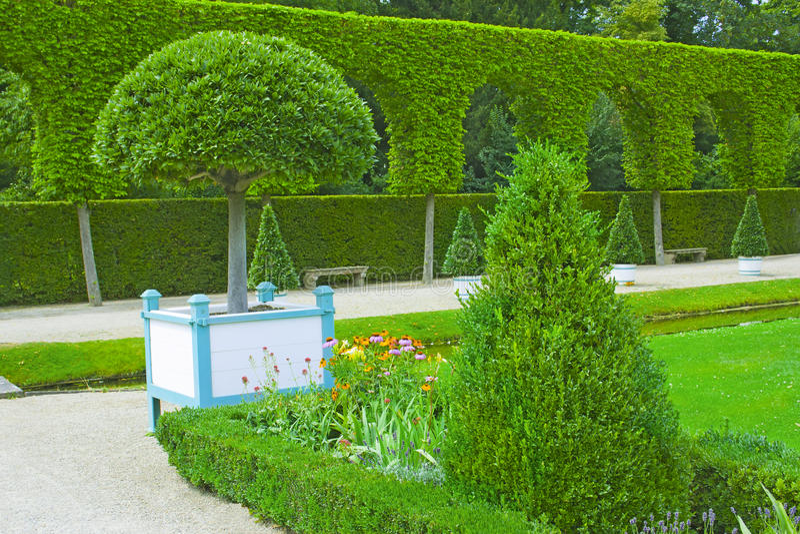 Mooie tuin met groene hagen royalty-vrije stock fotografie
