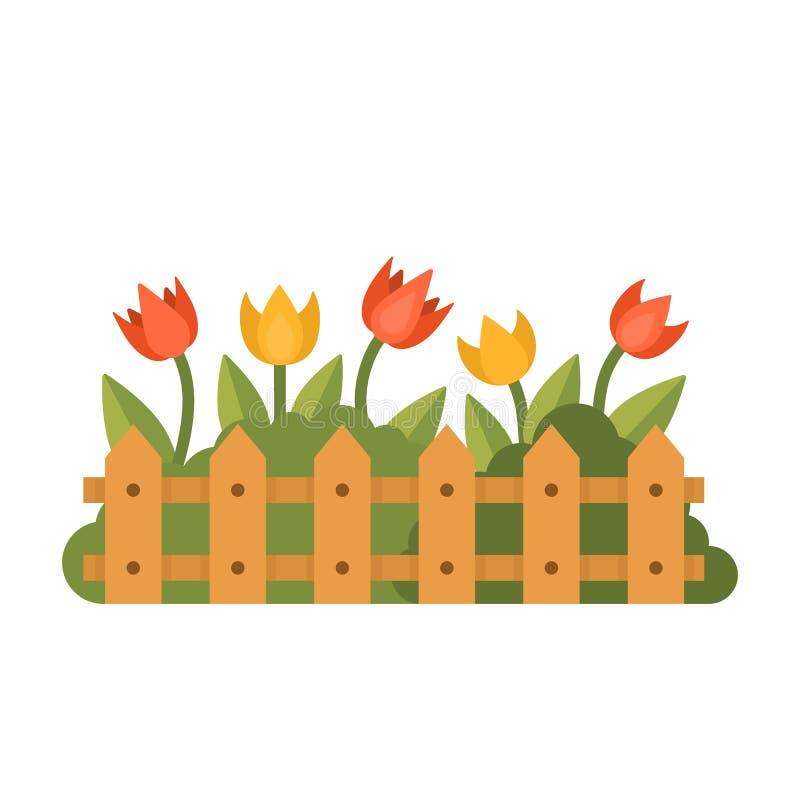 Mooie tuin met verschillende bloemen achter de omheining Vlakke stijl vectorillustratie royalty-vrije illustratie