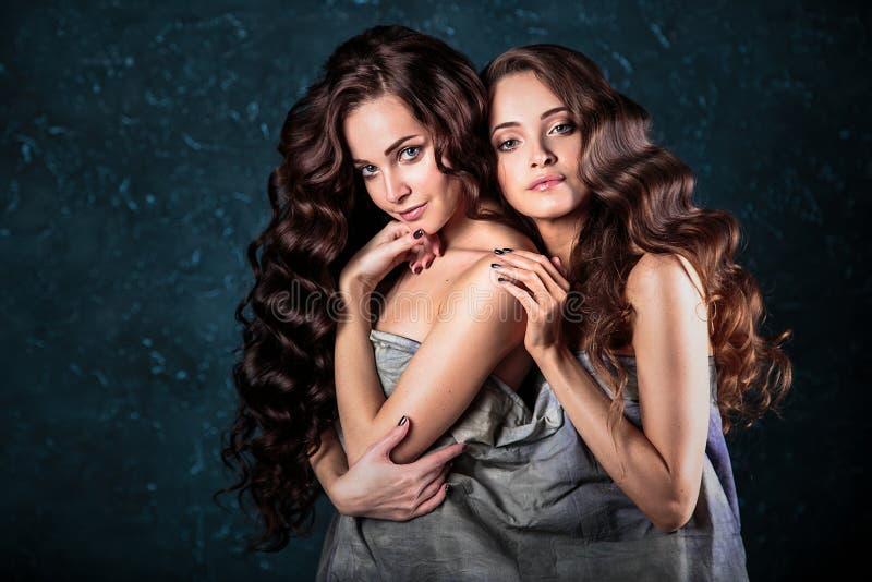 Mooie tweelingen jonge vrouwen met natuurlijke samenstelling en haarstijl die naakt stellen behandeld met grijze doek, close-uppo stock afbeelding
