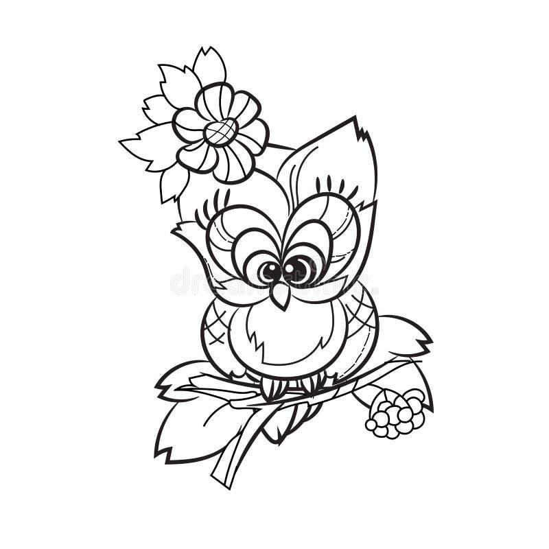 Mooie Uil op boomtak stock illustratie