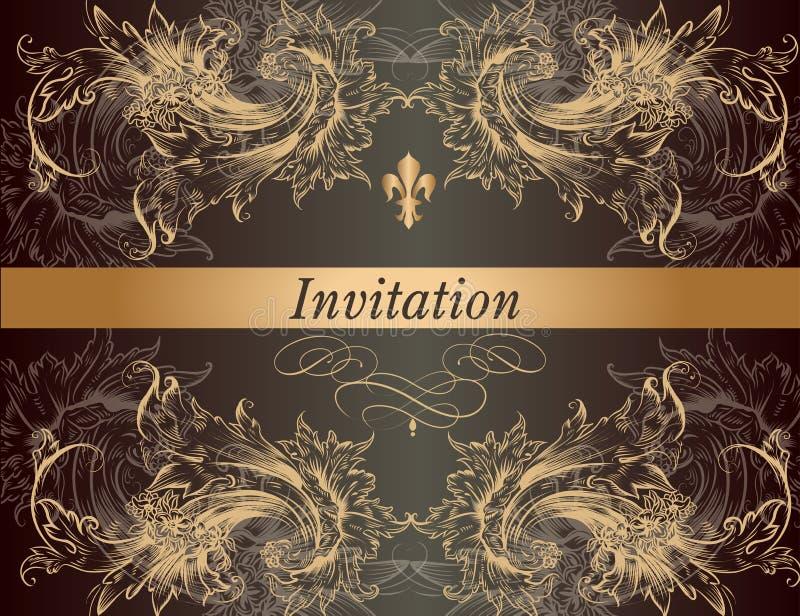 Mooie uitnodigingskaart in uitstekende klassieke stijl royalty-vrije illustratie