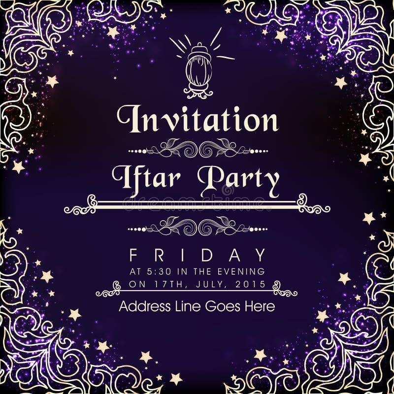 Mooie uitnodigingskaart voor Ramadan Kareem Iftar Party-viering stock illustratie