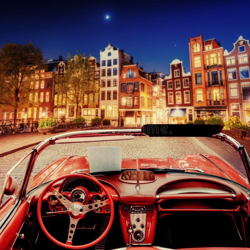 Mooie uitstekende auto op de straat in Amsterdam, Nederland royalty-vrije stock foto's