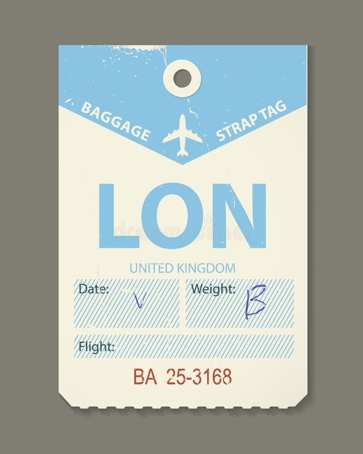 Mooie uitstekende bagagemarkering, uitstekende retro reis het etiket van Londen, land vector illustratie