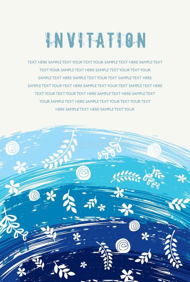 Mooie uitstekende bloemenuitnodigingskaart Vector illustratie royalty-vrije illustratie