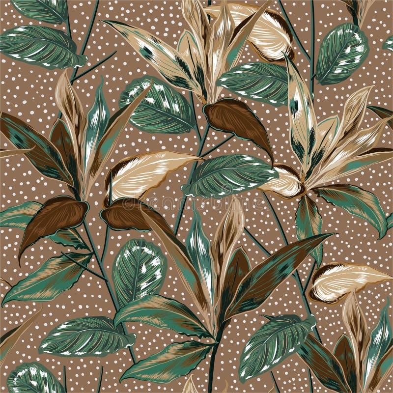 Mooie uitstekende Botanische installaties en wild bos vector naadloos patroon met stippenontwerp voor manier, stof, Web, behang vector illustratie