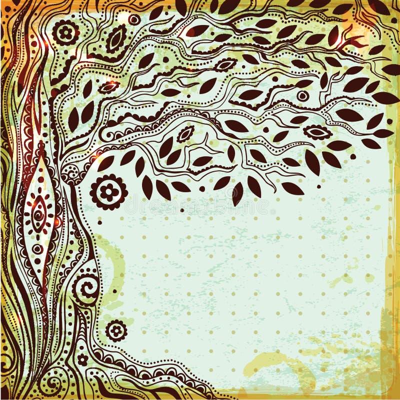 Mooie uitstekende hand getrokken boom van het leven vector illustratie