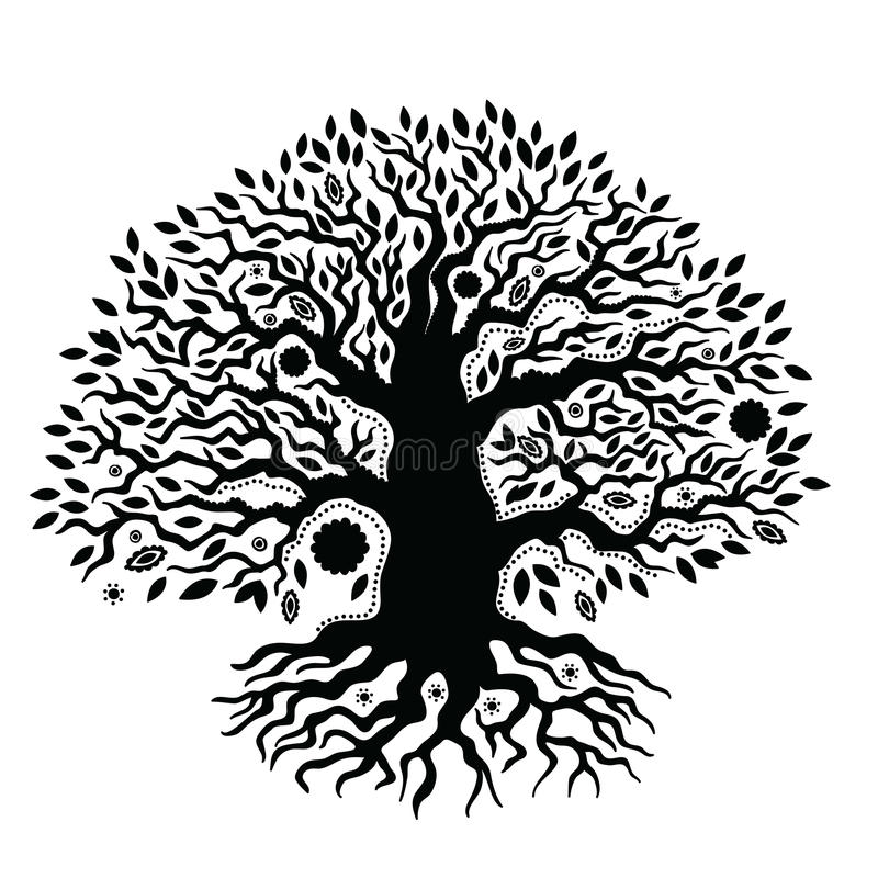 Mooie uitstekende hand getrokken boom van het leven stock illustratie