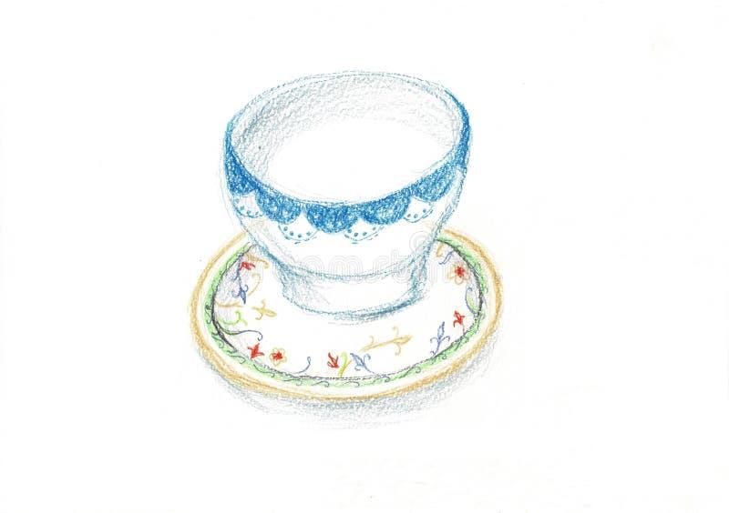 Mooie uitstekende lege die koffiekop op een schotel op witte achtergrond wordt geïsoleerd stock illustratie