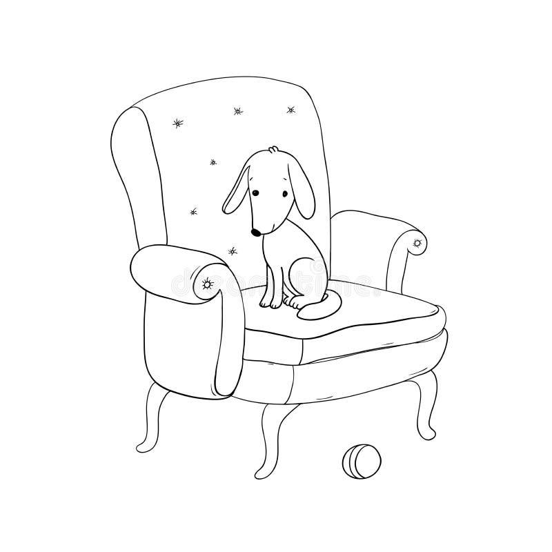 Mooie uitstekende stoel, leuke hond en een bal vector illustratie