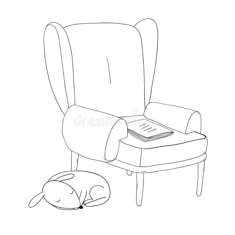 Mooie uitstekende stoel, notitieboekje en een leuke hond royalty-vrije illustratie