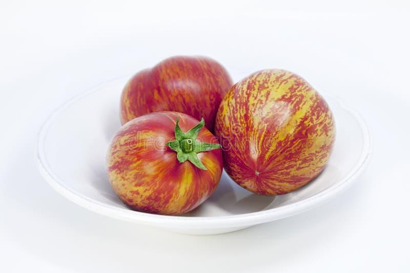 Mooie uitstekende witte porseleinplaat Rijpe bont tomaten met ongebruikelijk natuurlijk patroon stock foto's