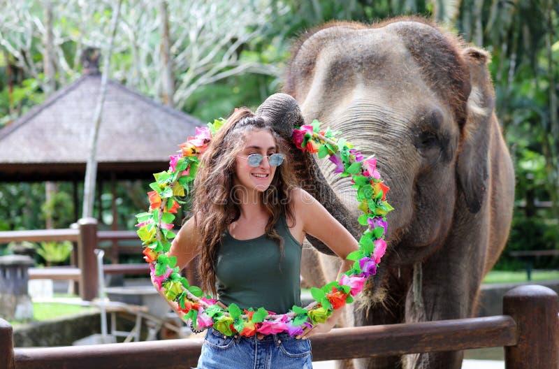 Mooie unieke olifant met meisje bij een reserve van het olifantenbehoud in Bali Indonesië stock foto