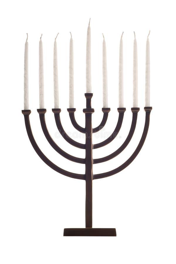 Mooie unlit hanukkah menorah op wit royalty-vrije stock foto's