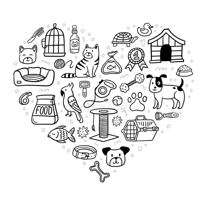 Mooie van de huisdierenmateriaal en levering pictogrammen geplaatst ontwerp in hartvorm stock illustratie