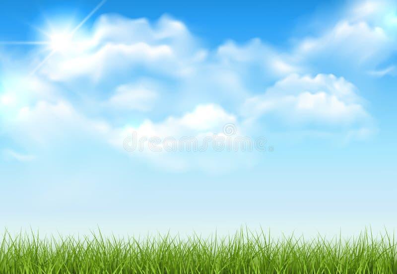 Mooie vector zonnige gazon of weide met pluizige wolken en zon vector illustratie