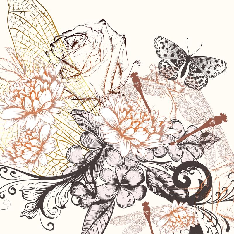 Mooie vectorachtergrond met hand getrokken bloemen in uitstekend s royalty-vrije illustratie