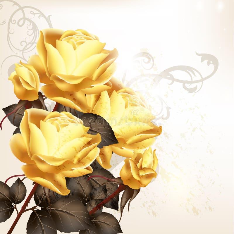Mooie vectorachtergrond in uitstekende stijl met roze bloemen vector illustratie