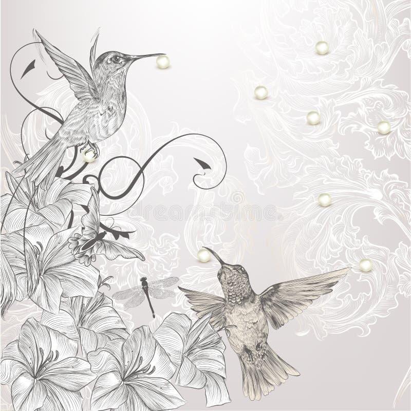 Mooie vectorachtergrond in uitstekende stijl met vogels en stroom royalty-vrije illustratie
